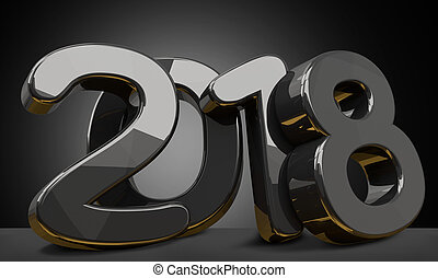 2018 black background bold numbers 3d rendering