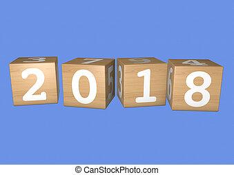 2018, bloques de madera