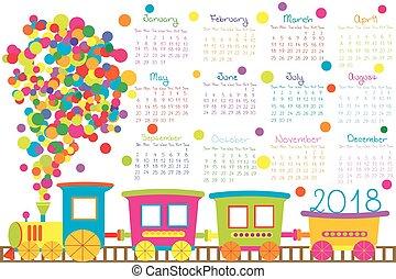 2018, calendário, com, caricatura, trem, para, crianças