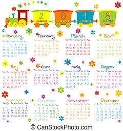2018, calendário, com, trem brinquedo, e, flores