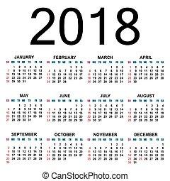 2018., calendário, template.