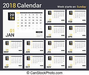 2018 Calendar, 12 pages, week starts on Sunday, vector eps10...