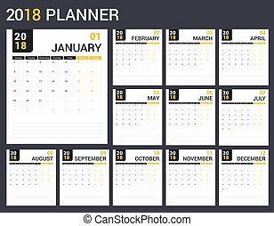 2018 Calendar template, planner, 12 pages, vector eps10...