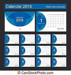 2018 Calendar. Desk Calendar modern design template. Week starts Sunday.