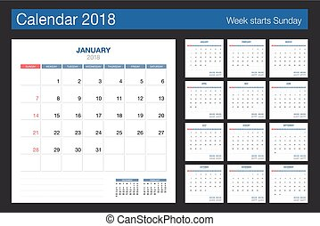 2018 Calendar. Desk Calendar modern design template. Week ...