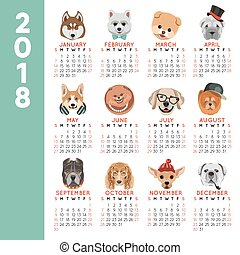 2018 calendar dog year breed cartoon pet icons month vector design template