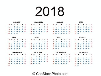 January 2018 calendar concept background, cartoon style ...