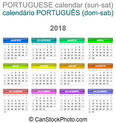 2018 Calendar Portuguese Language Version Sunday to Saturday...