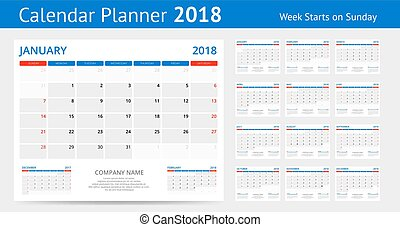 2018 calendar Print Template Week Starts Sunday Portrait...