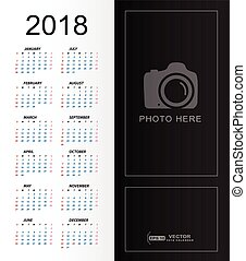2018 Calendar simple with place for copy space and photo place template
