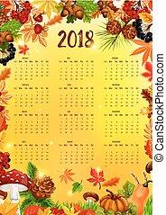 2018 Calendar template with autumn leaf frame