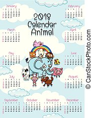 2018 calendar template with cute animals