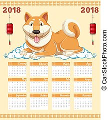 2018 calendar template with cute dog