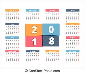 2018 Calendar, week starts on Monday, vector eps10...