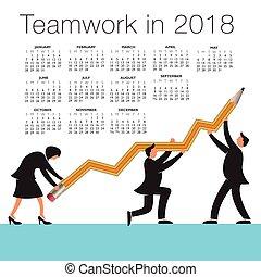 2018 Calendar with a teamwork graphic