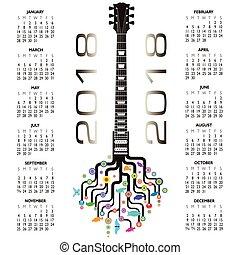 2018 Calendar with a whimsical guitar