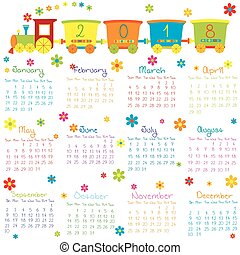 2018 Calendar with toy train and flowers