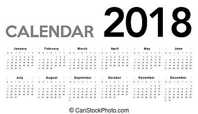 2018., calendario, comienzos, domingo, semana