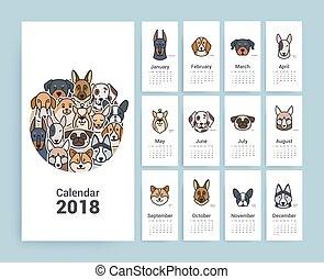 2018., calendario, diseño, plantilla