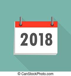 2018., calendario, vector, illustration., icono