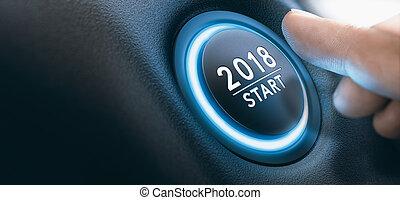 2018 Car Start Button, Two Thousand Eighteen Background. -...