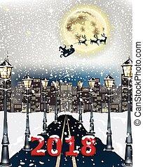 2018 card Cityscape road background. Winter snowy night decor Vector