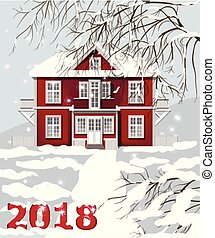 2018 card Red house. Winter snowy background Vector illustrations