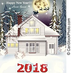 2018 card White house. Winter snowy background Vector realistic illustrations