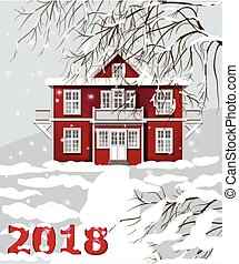 2018 card with red vintage house. Winter snowy background Vector illustration