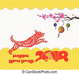 2018 chinese new year greeting card with traditionlal...