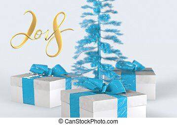 2018 Christmas New Year lettering with colorful gift boxes with bows of ribbons and golden christmas tree on the white background. 3d illustration