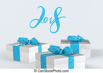 2018 Christmas New Year lettering with colorful gift boxes with bows of ribbons on the white background. 3d illustration