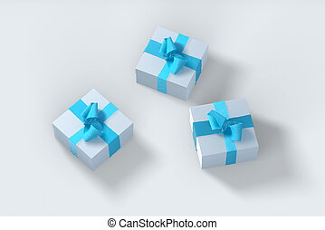 2018 Christmas New Year white gift boxes with blue bows of ribbons isolated on the white background. 3d illustration