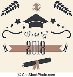 2018., classe, graduazione, theme.