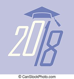 2018, classe, parabéns, tipografia, graduado