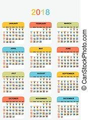 2018 colored calendar