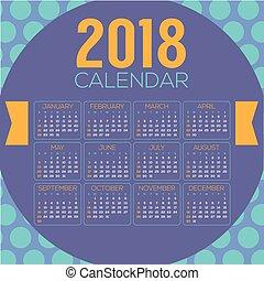 2018 Colorful Blue Purple Circle Pattern Printable Calendar Starts Sunday Vector Illustration
