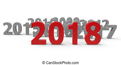 2018 come represents the new year 2018, three-dimensional...