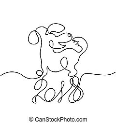 2018 design with dog simbol of the year - Continuous line...