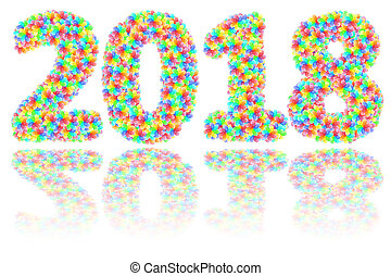 2018 digits composed of colorful glass flowers on glossy white background
