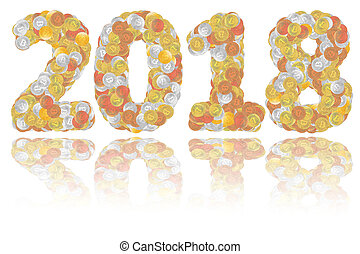 2018 digits composed of gold, silver, bronze and copper bitcoin coins on glossy white background