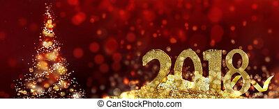 2018, dorado, figuras, y, árbol de navidad