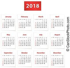2018 English calendar