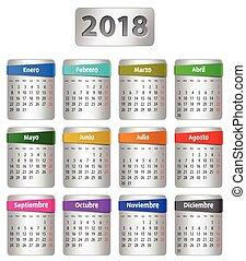 2018, español, calendario
