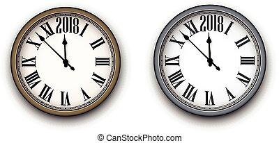2018, färsk, runda, clock., år