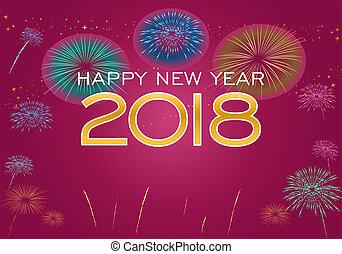 2018, feliz, año, nuevo