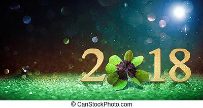 2018, feliz, ano, novo