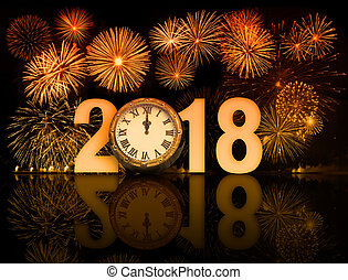 2018 fireworks with clock exactly at midnight 3d illustration