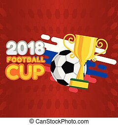 2018 Football Cup Football Championship Cup Background Vector Image