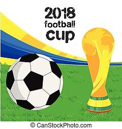2018 Football Cup Football Championship Cup Green Grass Background Vector Image